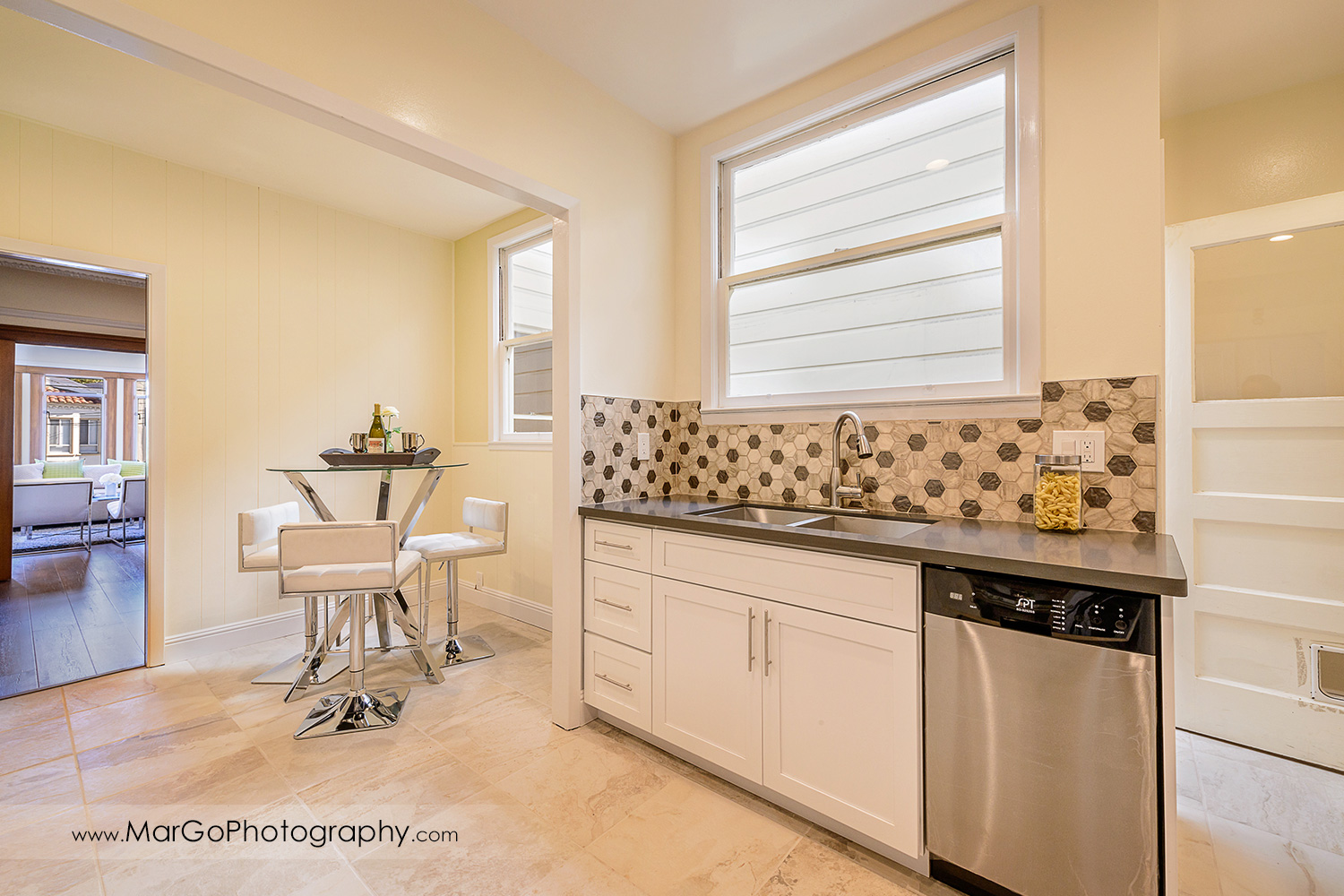 San Francisco house kitchen with view on reading corner - real estate photography