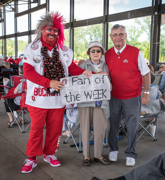 "Buckeye Man and ""Jim Tressel"" were on hand to pump up the Buckeye fans"