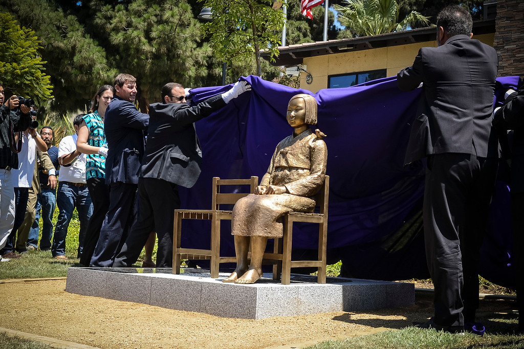". A statue honoring the ""comfort women\"" of WWII is unveiled in Glendale Tuesday.  The statue honors the victims of military sexual slavery during the war.   Photo by David Crane/Staff Photographer"