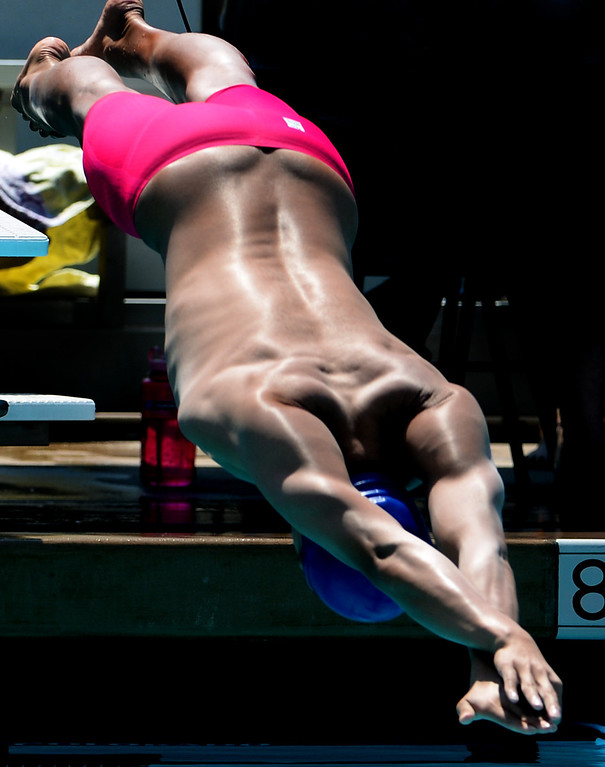 . Rowland\'s Michael Wang starts the 100 yard freestyle race and wins during the Division 2 CIF Southern Section Swimming Championships in the Riverside Aquatics Complex at Riverside City College in Riverside, Calif., on Saturday, May 17, 2014.  (Keith Birmingham/Pasadena Star-News)