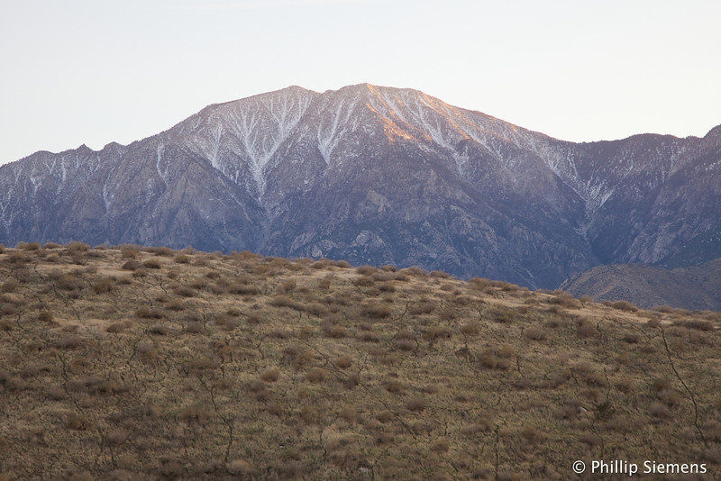Sundown on the snow on San Jacinto