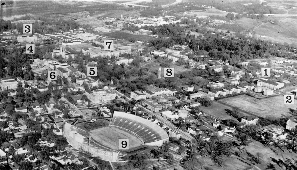 . Key points are indicated on aerial photo of the campus of the University of Alabama at Tuscaloosa where two Negroes are - scheduled to register tomorrow. 1-Foster Auditorium where Vivian Malone and James Hood will register and where Gov. George Wallace will attempt to block the door. 2-Mary Burke Hall where Miss Malone will be quartered. 3-Palmer Hall where Hood has quarters. 4-Party Hall where Hood will eat. 5-Administration Building. 6-School of Commerce where Miss Malone will take classes. 7-Clarke Hall, administrative building for the College of Arts and Sciences which Hood will attend.3-Denny Chimes, historic landmark and center of campus. 9-Deny football stadium. 1963