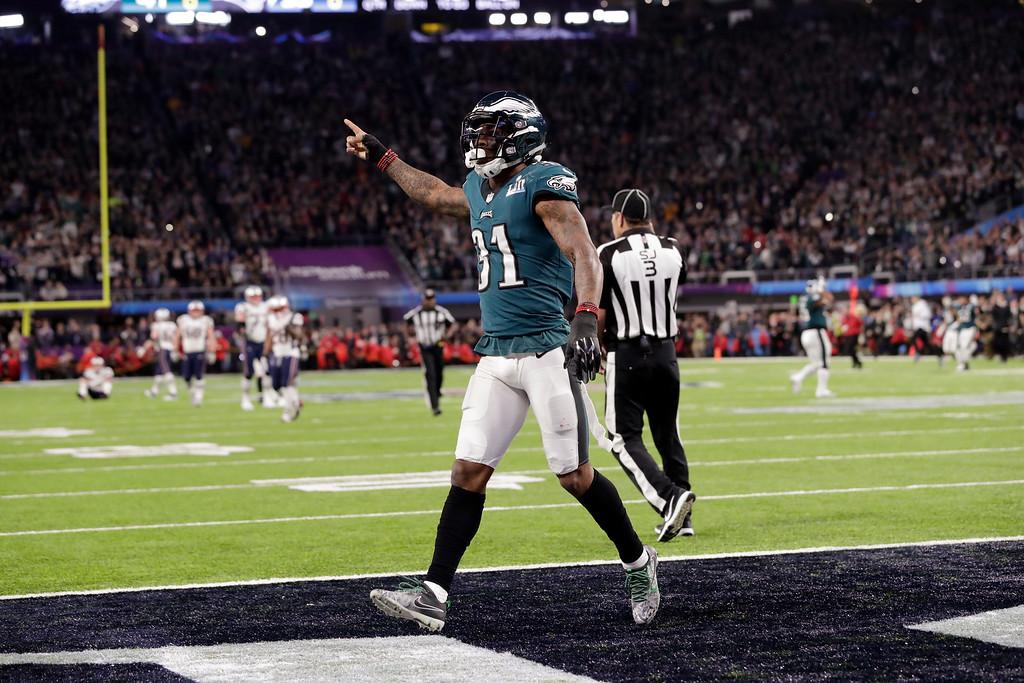 . Philadelphia Eagles cornerback Jalen Mills (31) celebrates after the NFL Super Bowl 52 football game against the New England Patriots, Sunday, Feb. 4, 2018, in Minneapolis. The Eagles won 41-33. (AP Photo/Tony Gutierrez)
