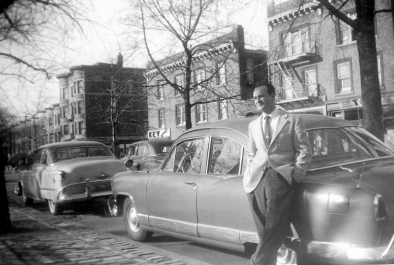 Uncle Lou and his 1951 Kaiser on Eastern Parkway, Brooklyn in 1953