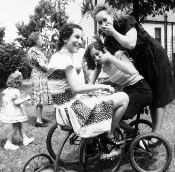 Aunt Lil and Aunt Julia Riding their Tricycles.JPG