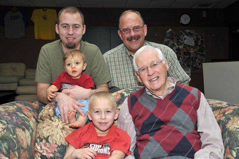 Four generations of Hoorts. Seated (l-r): Jason Hoort, Alan Hoort, Calvin Hoort. Standing: Philip Hoort, Gary Hoort.