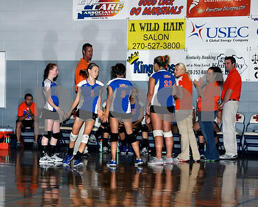 Marshall County Varsity Volleyball vs. Caldwell County, August 9, 2011. Lady Marshals Lost 25-18 & 25-10.