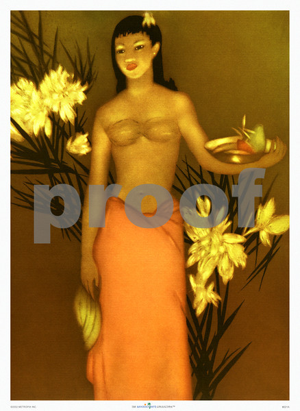 221: John Kelly: 'Girl with Bananas' Monotype etching for Royal Hawaiian Hotel Menu. Ca 1950. (PROOF watermark will not appear on your print)