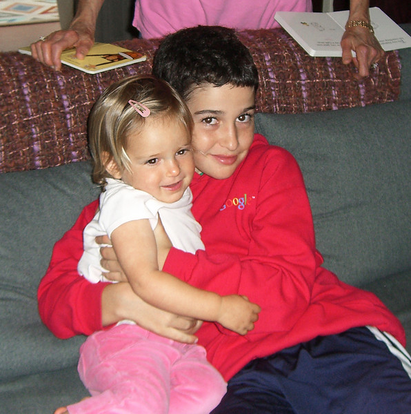 A little cousinly love: Hazel (20 months) and Zack (not quite 11, and just in from Singapore)