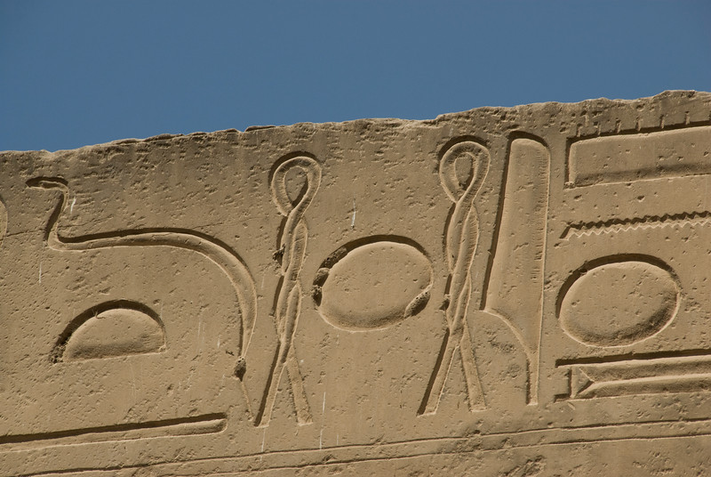 Close-up shot of heiroglyphics at Luxor Temple - Luxor, Egypt