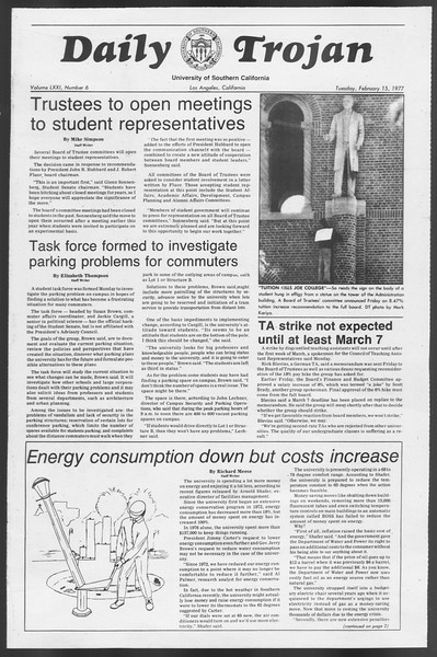 Daily Trojan, Vol. 71, No. 6, February 15, 1977