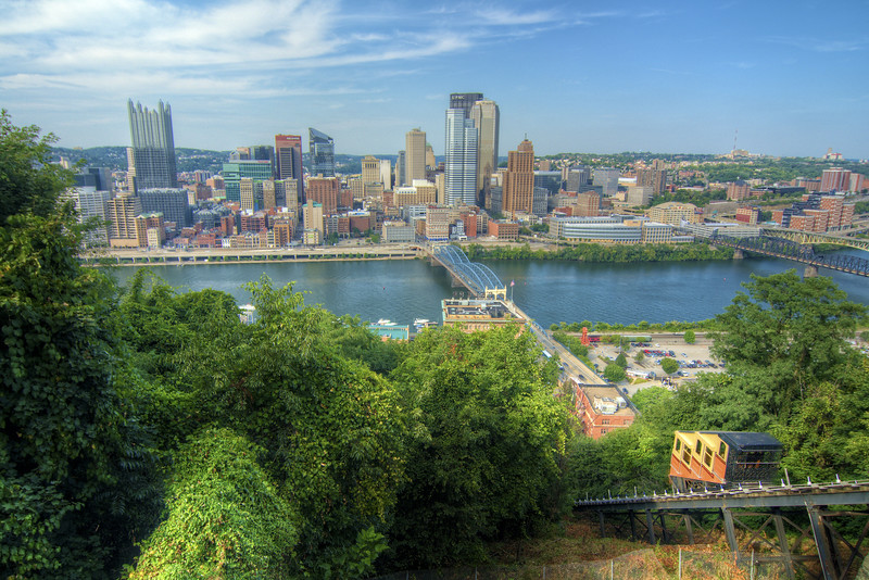 The Monongahela Incline climbs up Mount Washington with a view of downtown Pittsburgh, PA on Friday, August 14, 2015. Copyright 2015 Jason Barnette