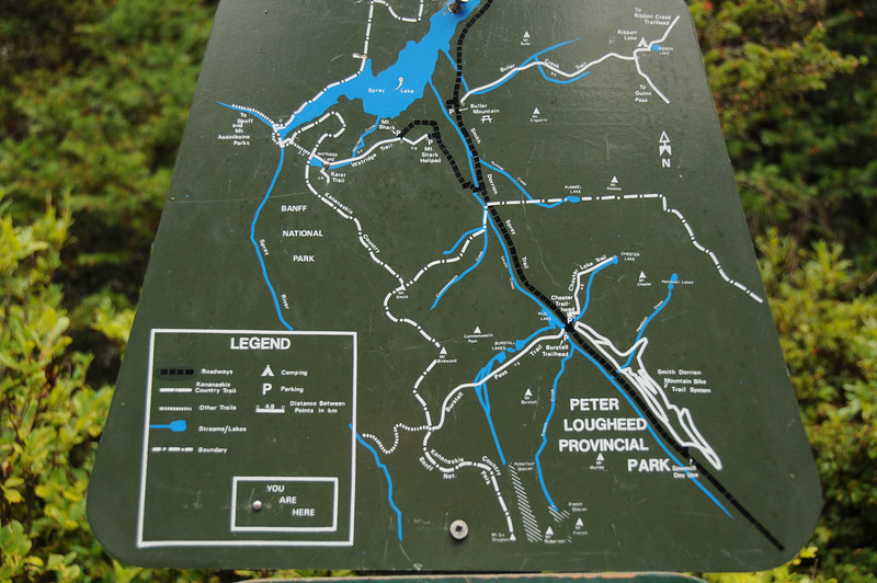 "Watridge Lake is at the ""You Are Here"" spot. Not the screw at the bottom of the map, but 3/4 up the map on the left side, on the Karst Spring trail."
