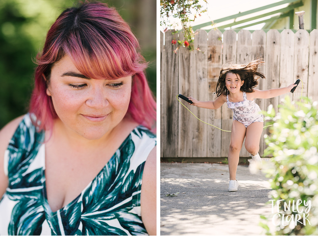 Jump rope. Lifestyle in home family photography session in Fremont, CA by Tenley Clark Photography.