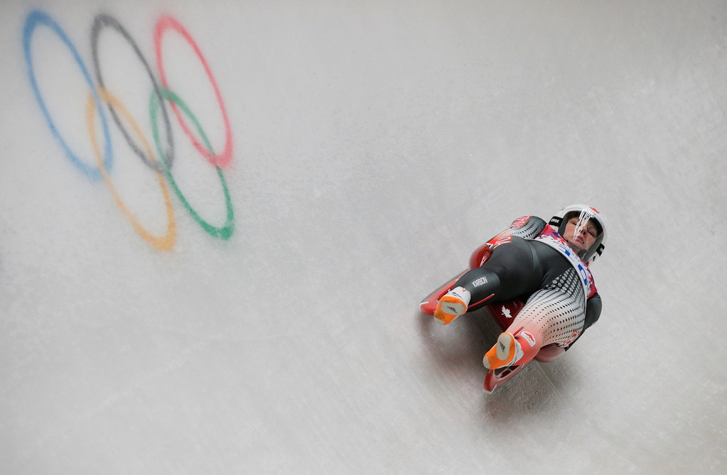 . Alex Gough of Canada makes a run during the Women\'s Luge Singles on Day 3 of the Sochi 2014 Winter Olympics at Sliding Center Sanki on February 10, 2014 in Sochi, Russia.  (Photo by Adam Pretty/Getty Images)