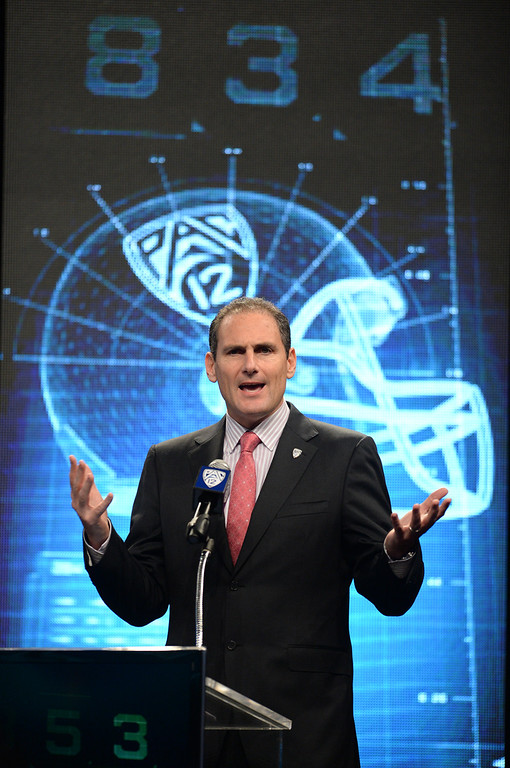 . PAC-12 Commissioner Larry Scott. Pac12 media Day at Sony Studios.  Photo by Brad Graverson 7-26-13