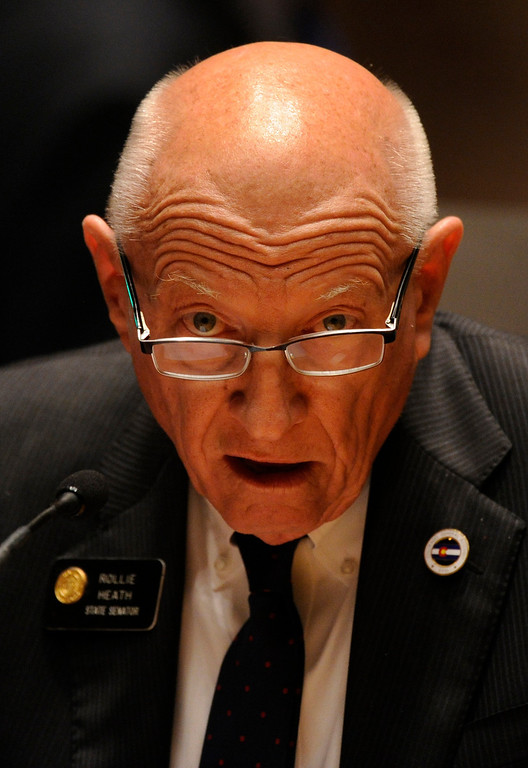 . DENVER, CO. - MARCH 8: Senator Rollie Heath (D-Boulder) laid over his own bill concerning concealed weapons on college campuses late Friday night. The Colorado Senate continued to debate various gun control measures Friday night, March 8, 2013. (Photo By Karl Gehring/The Denver Post)