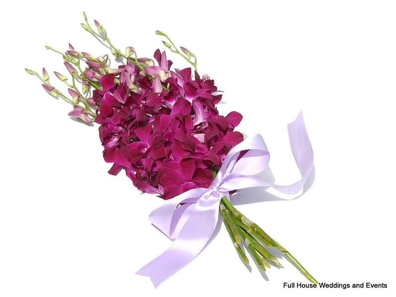Bouquet - Dark Magenta Dendrobium Orchids (presentation style)