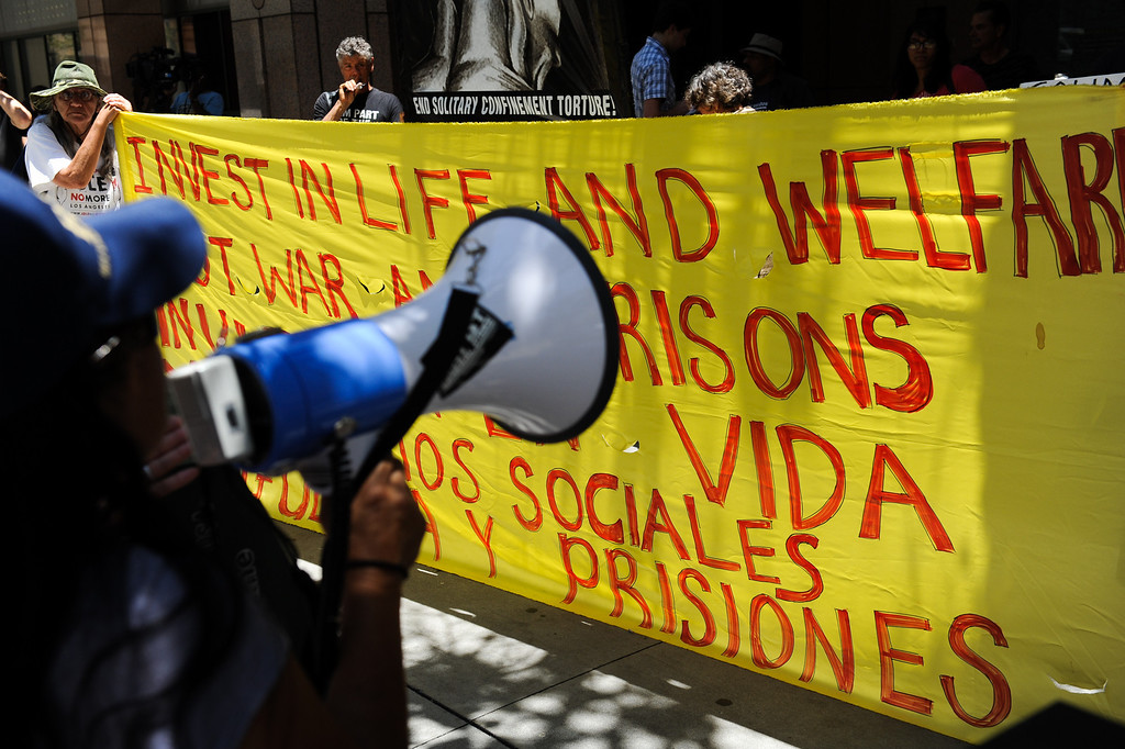 . Protesters outside the Ronald Reagan State Building in downtown L.A. Monday, July 8, 2013, against solitary confinement in California prisons. (Michael Owen Baker/L.A. Daily News)