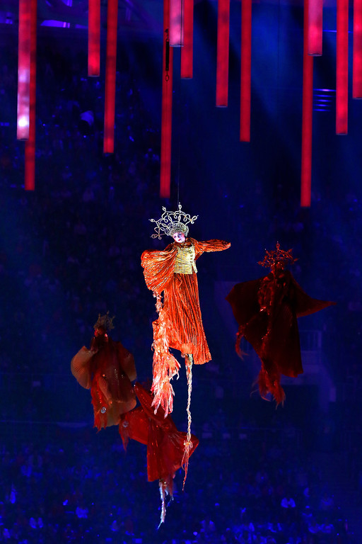 . Performers representing \'Firebirds\' fly above the arena during the Opening Ceremony of the Sochi 2014 Paralympic Winter Games at Fisht Olympic Stadium on March 7, 2014 in Sochi, Russia.  (Photo by Ian Walton/Getty Images)