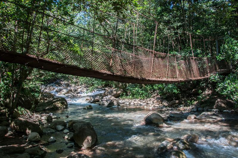 Hanging bridge in Rincon Volcano National Park, Costa Rica
