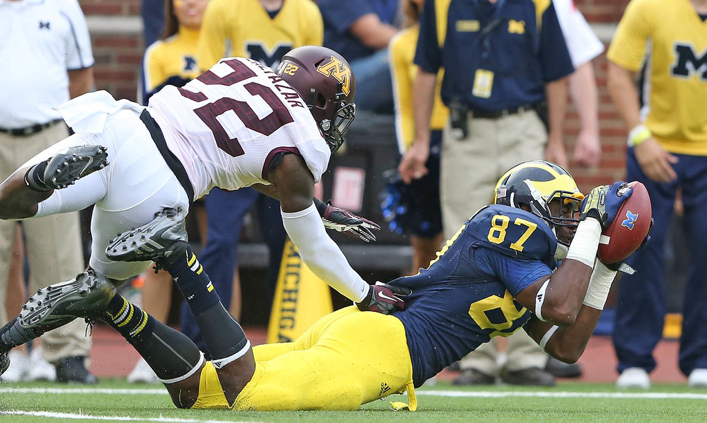 . Michigan receiver Devin Funchess makes the catch just short of the end zone for a first down during the third quarter. (Photo by Leon Halip/Getty Images)