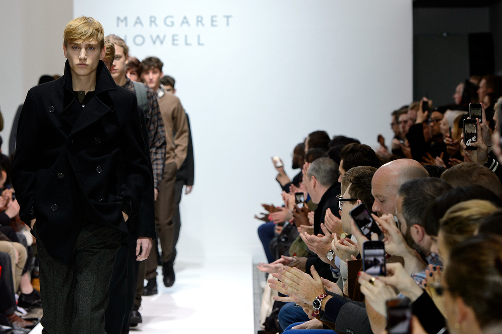 . A model walks the runway at the Margaret Howell show during The London Collections: Men Autumn/Winter 2014 on January 7, 2014 in London, England.  (Ben A. Pruchnie/Getty Images)
