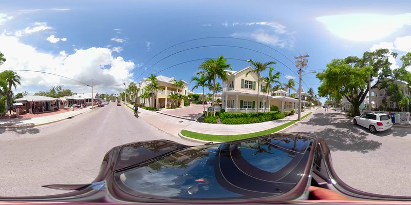Driving through the Keys 360vr equirectangular footage