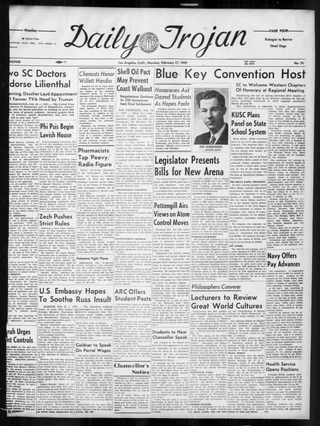 Daily Trojan, Vol. 38, No. 76, February 17, 1947