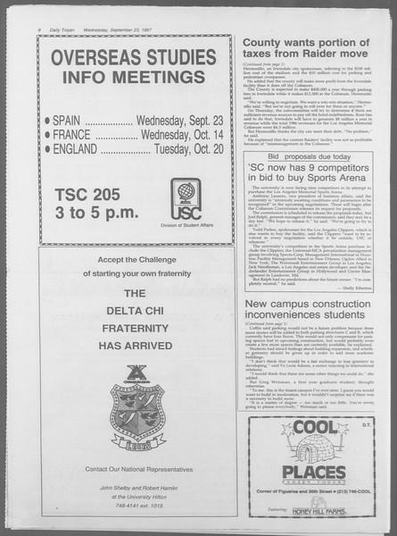 Daily Trojan, Vol. 105, No. 15, September 23, 1987