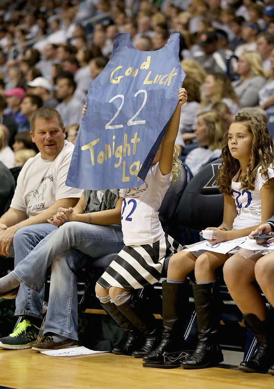 . A fan shows her support for Lauren Hill of Mount St. Joseph during the game against Hiram at Cintas Center on November 2, 2014 in Cincinnati, Ohio. Hill, a freshman, has terminal cancer and this game was granted a special waiver by the NCAA to start the season early so she could play in a game.  (Photo by Andy Lyons/Getty Images)