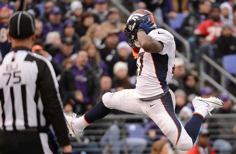 . Denver Broncos running back Knowshon Moreno (27) poses after his 6-yard touchdown run in the third quarter against the Baltimore Ravens Sunday, December 16, 2012 at M&T Bank Stadium. John Leyba, The Denver Post