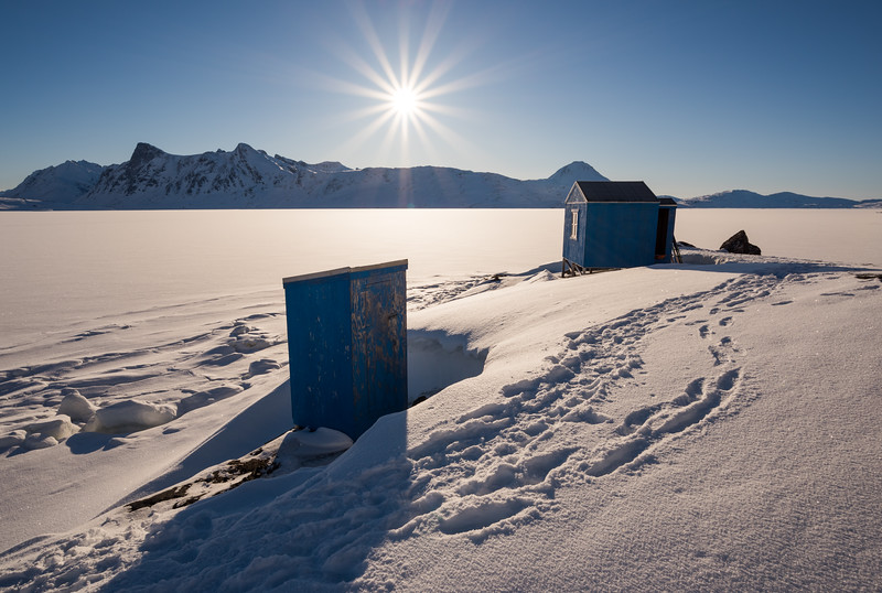Hunter's cabin at sunrise, East Greenland