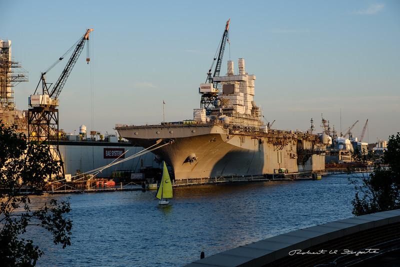 Navy ships in dry dock, Norfolk VA