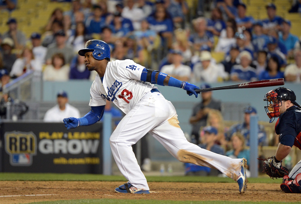 . Dodgers\' Hanley Ramirez gets a base hit during game 3 of the NLDS at Dodger Stadium Sunday, October 6, 2013. (Photo by David Crane/Los Angeles Daily News)