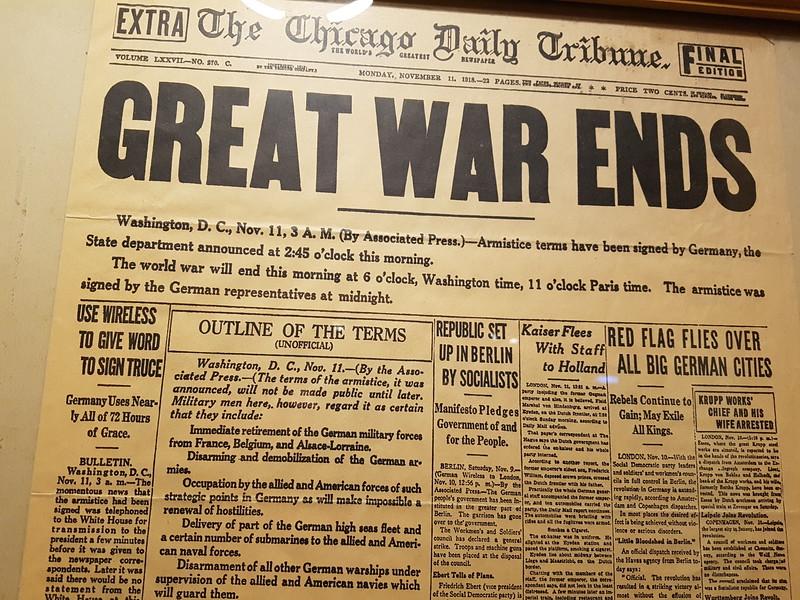 1918-11-11 berättar Chicago Daily Tribune att 1:a världskriget avslutats