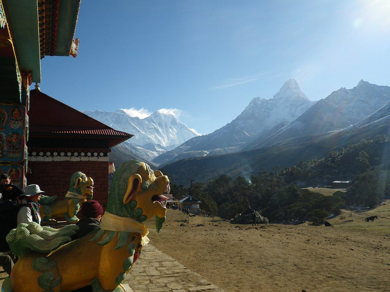Tengboche (12,664ft = 3.860m) - largest monastery in Solu Khumbu Valley - view towards north, uphill.
