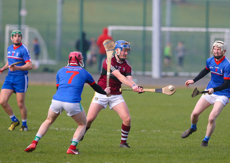 22/02/2019. Fitzgibbon Cup at WIT. Electric Ireland Fergal Maher Cup Semi Final MIC Thurles V St Marys. Pictured are St Marys Micheal Breen and MIC Thurles Jake Tobin. Picture: Patrick Browne