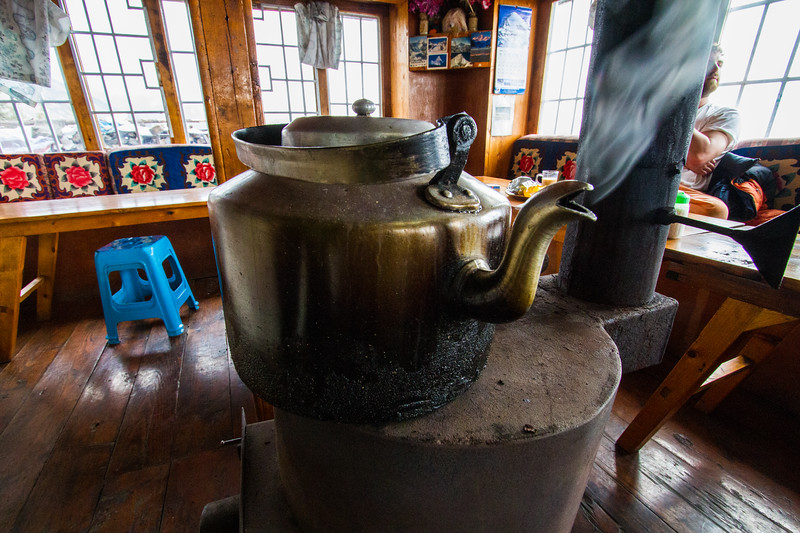 Close-up of tea kettle in restaurant - Nepal