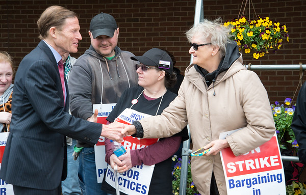 04/15/19 Wesley Bunnell | Staff Senator Richard Blumenthal visited area Stop & Shop Supermarkets on Monday afternoon speaking to striking workers on the importance of not just protecting their jobs but helping to uphold other jobs in the middle class. Senator Blumenthal shakes hands with Marilyn Schwarzman during his visit to the Bristol Stop & Shop on Pine St.