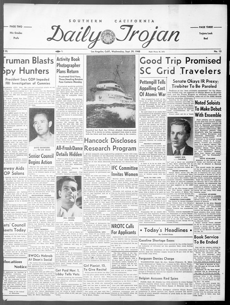 Daily Trojan, Vol. 40, No. 13, September 29, 1948