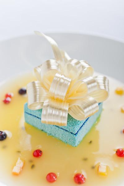 DieterSchorner's Tiffany Box dessert, prepared for Pastry and Baking Magazine.