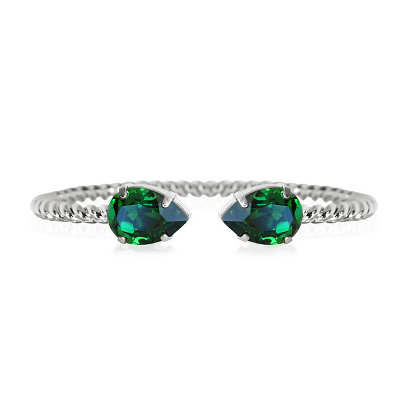 Mini Drop bracelet / Dark Moss Green / Rhodium