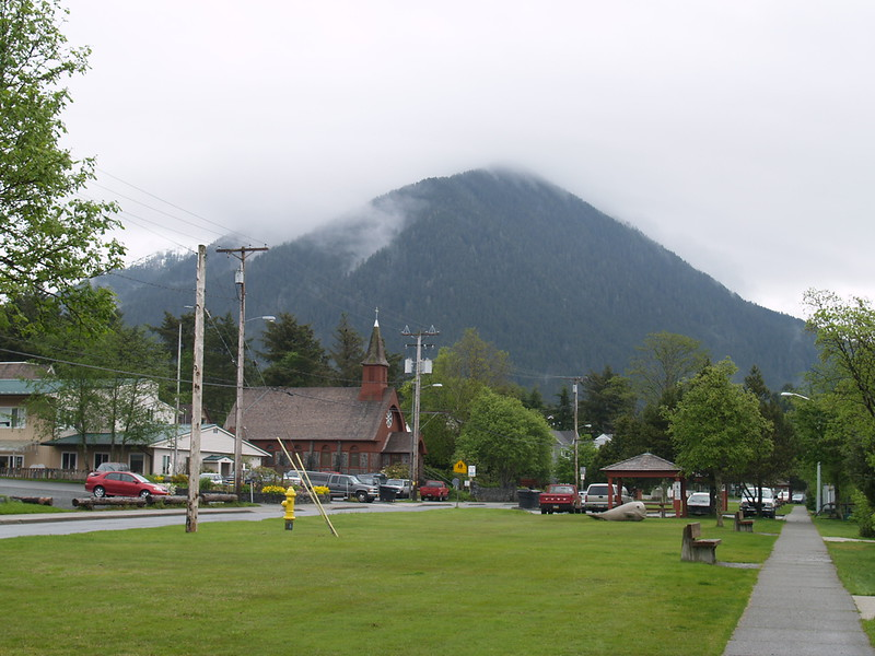The park next to Crescent Harbor. Mt. Verstovia is in the background. The Sitka Historical National Park is about a 10-minute stroll from here (2006).