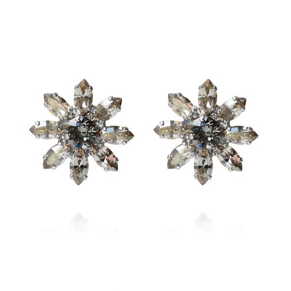 Night Flower Stud Earrings / Black Diamond / Rhodium
