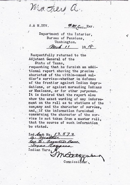 DEPARTMENT OF INTERIOR INFORMATION REQUEST - 1918 A letter to the Adjutant General of the State of Texas requesting information on Andrew Mather's service regarding his participation in battle against marauding Indians or Mexicans during the Indian Wars.