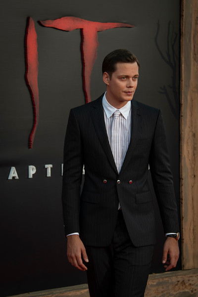 "WESTWOOD, CA - AUGUST 26: Bill Skarsgard attends the Premiere Of Warner Bros. Pictures' ""It Chapter Two"" at Regency Village Theatre on Monday, August 26, 2019 in Westwood, California. (Photo by Tom Sorensen/Moovieboy Pictures)"