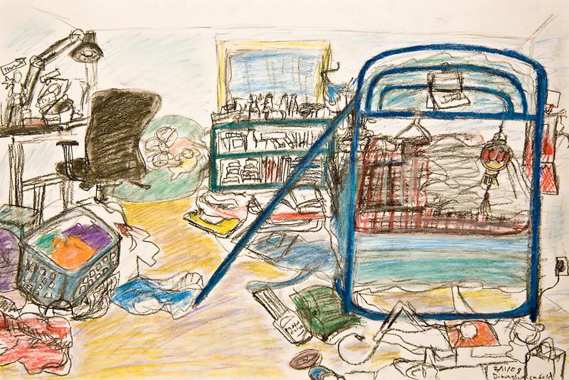 "Dina's Bedroom -- February 2008 -- pastel pencils.  12x18"""