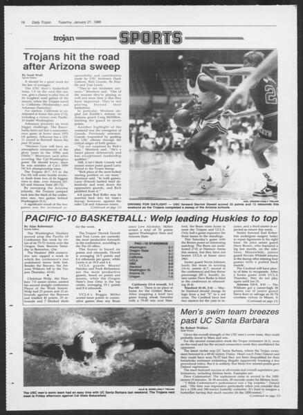 Daily Trojan, Vol. 100, No. 8, January 21, 1986