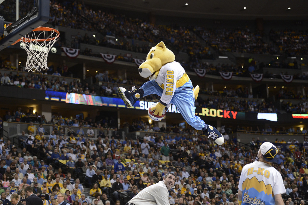 . DENVER, CO. - APRIL 20: The Nuggets mascot, Rocky, does some tricks before the second quarter. The Denver Nuggets took on the Golden State Warriors in Game 1 of the Western Conference First Round Series at the Pepsi Center in Denver, Colo. on April 20, 2013. (Photo by John Leyba/The Denver Post)